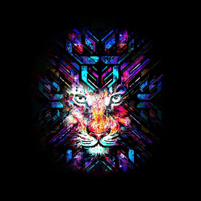 Abstrakcjonistycznej sztuki obrazek z tygrysem ilustracji