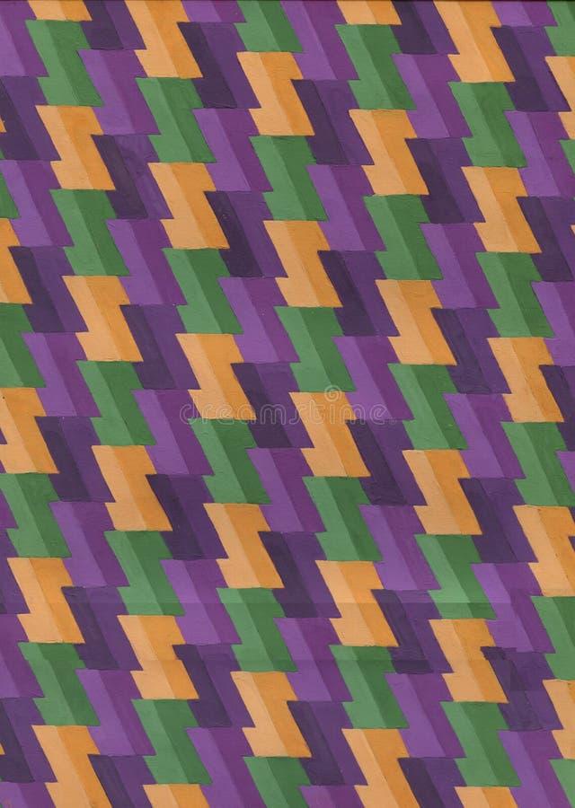 Abstrakcjonistycznej sztuki szewronu akwareli wzór geometryczny tło Pasiasta zakłopotana tło tekstura broderia plamy farby ilustracja wektor
