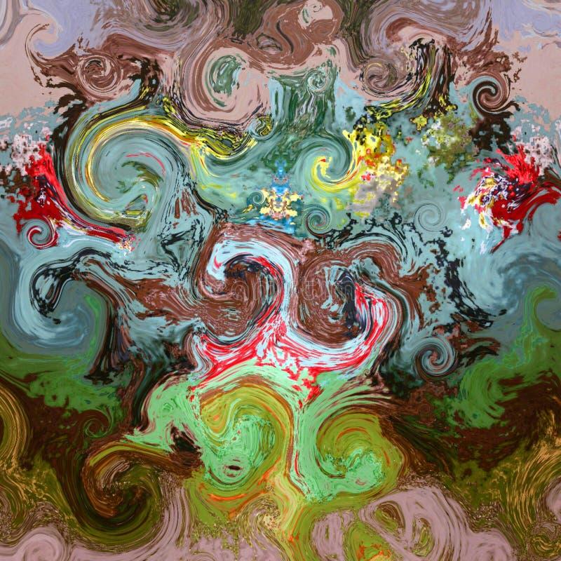 Abstrakcjonistycznej sztuki tęczy okregów zawijasa plamy kolorowego wzoru grunge muzyczny tło ilustracji