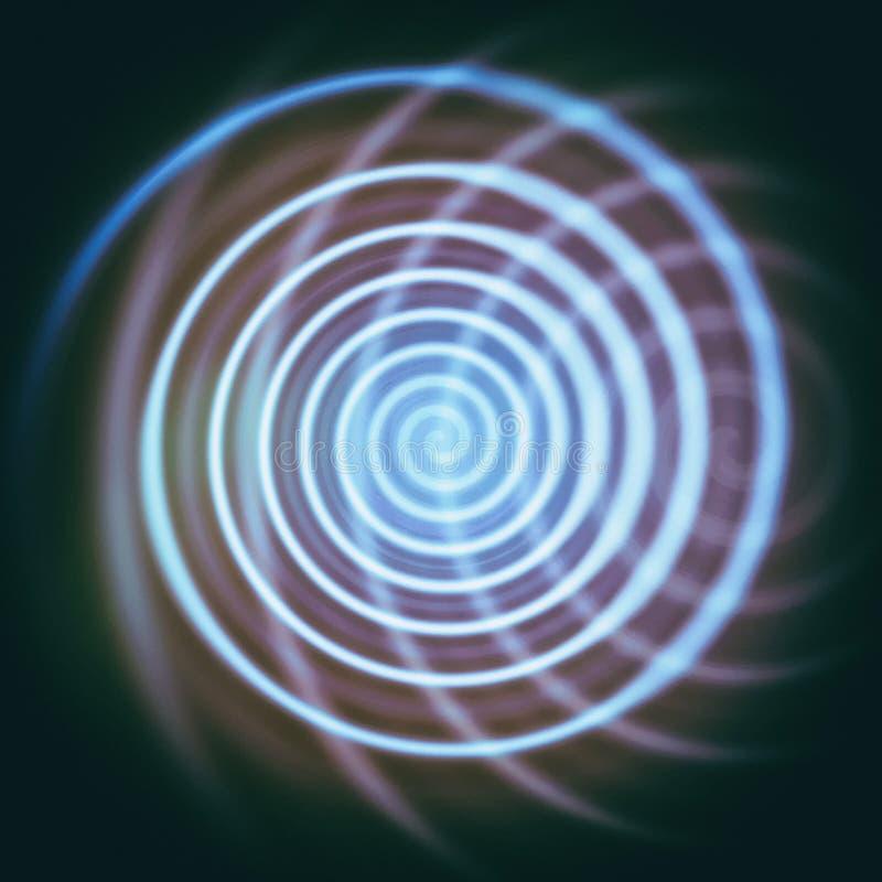 abstrakcjonistycznej sztuki tła ruchu spirali wektoru kłębowisko Helix neonowa lekka linia i swój odbicie ilustracji