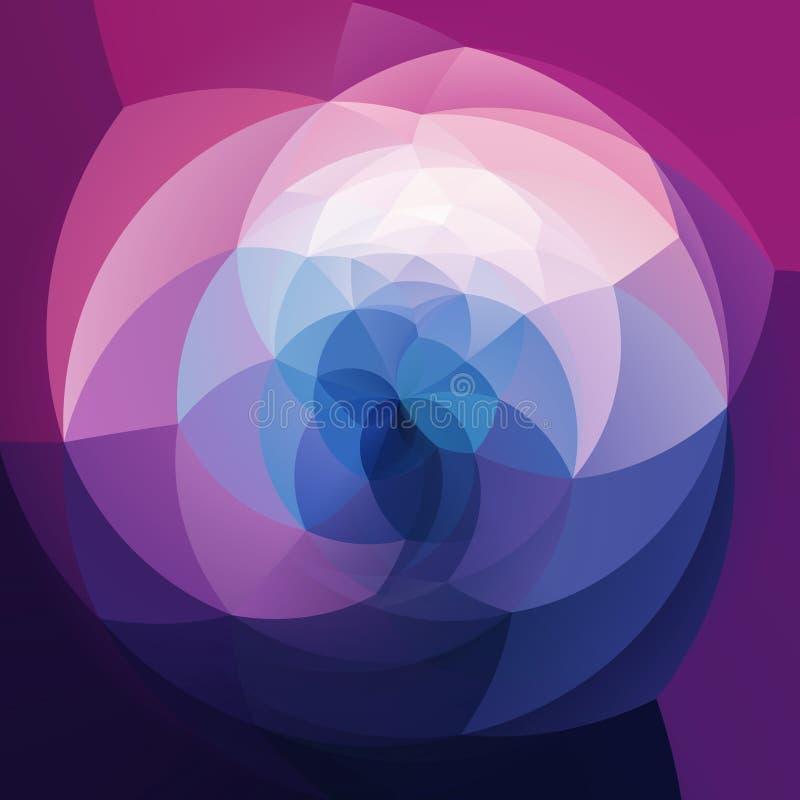 Abstrakcjonistycznej sztuki zawijasa geometryczny tło błękit, purpury i biel, barwił - ultrafioletowy, zmrok - royalty ilustracja