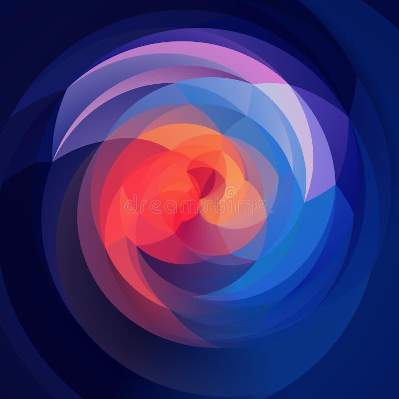 Abstrakcjonistycznej sztuki zawijasa geometryczny tło błękita, purpur, pomarańczowego i ultrafioletowego barwiony, - zmrok - royalty ilustracja