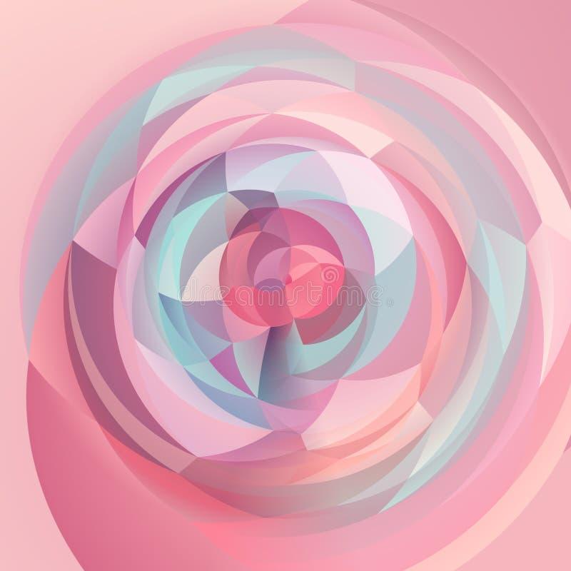 Abstrakcjonistycznej sztuki zawijasa geometryczny tło - dziecko menchii błękitni słodcy pastelowi kolory barwili royalty ilustracja