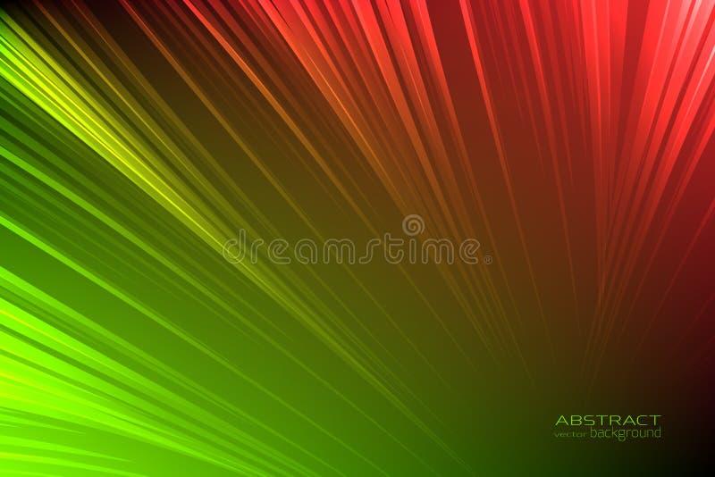 Abstrakcjonistycznej tło łuny neonowa zieleń, czerwone światło linie Energia promienia śladu błyskowa świecąca jarzeniowa błyskot ilustracja wektor