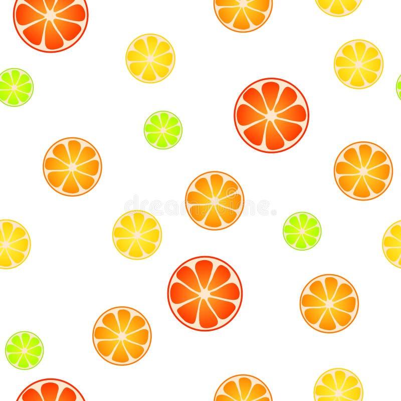 Abstrakcjonistycznej tło wzoru cytryny wapna czerwieni owocowej pomarańczowej grapefruitowej żółtej zieleni bezszwowa ilustracja royalty ilustracja