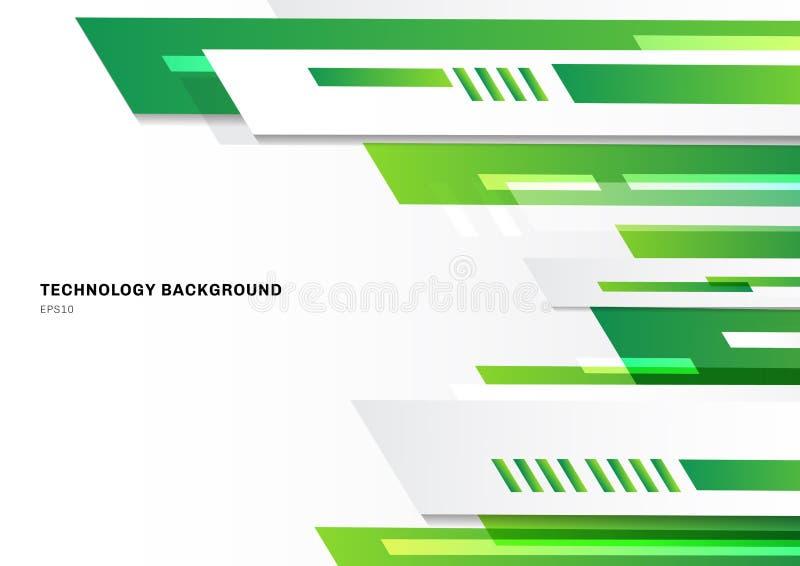 Abstrakcjonistycznej technologia stylu zieleni geometryczny jaskrawy projekt na białym tle z przestrzenią dla teksta Szablon bros royalty ilustracja