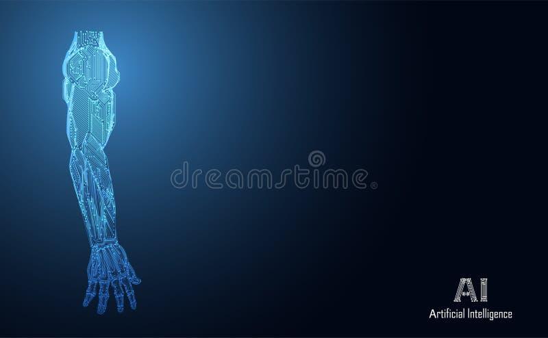Abstrakcjonistycznej technologii AI ręki sztucznej inteligenci cyfrowy conce royalty ilustracja