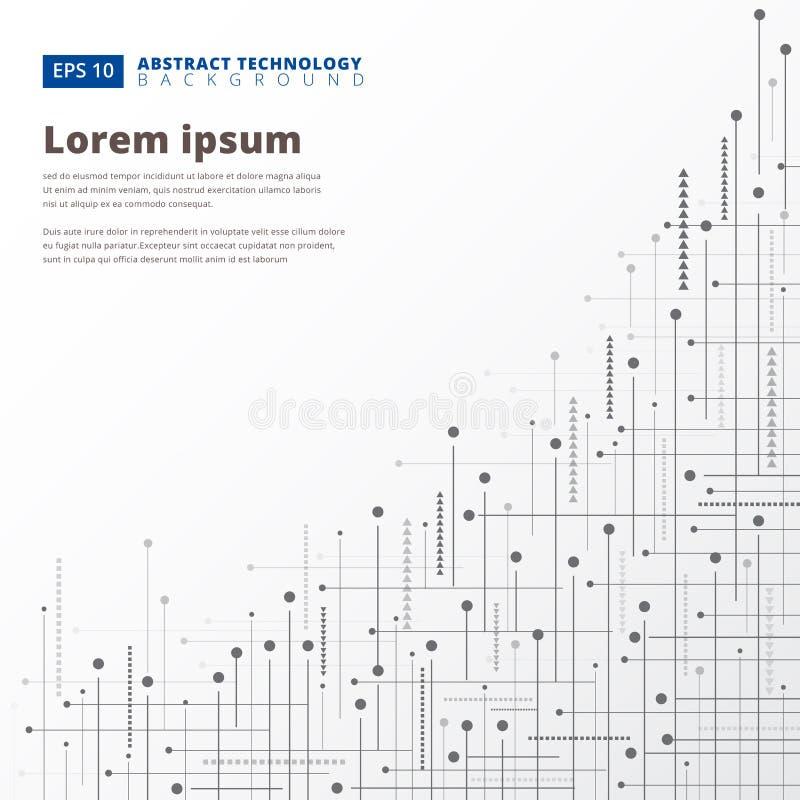 Abstrakcjonistycznej technologii cyfrowej geometryczne linie kropkują tło, Vec ilustracji