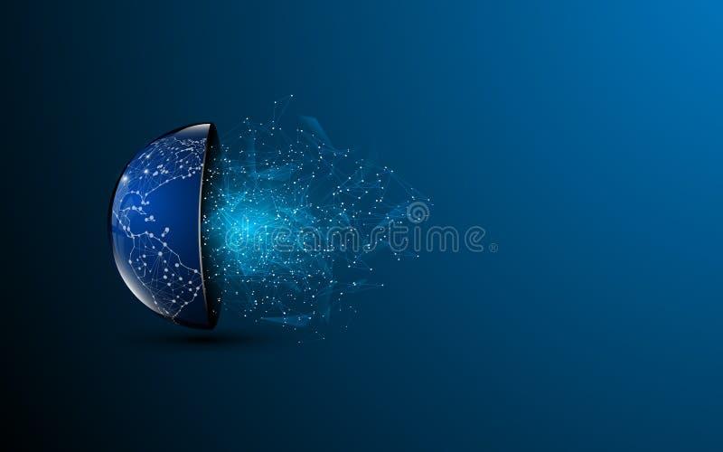 Abstrakcjonistycznej technologii cyfrowej wieloboka projekta wzoru globalny tło royalty ilustracja