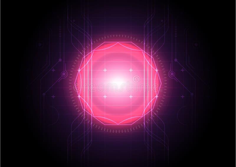 Abstrakcjonistycznej technologii czerwona energia, futurystyczny cyfrowy tło ilustracji