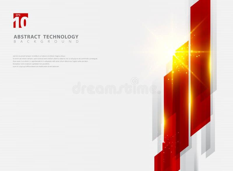 Abstrakcjonistycznej technologii czerwonego koloru ruchu geometryczny błyszczący tło z oświetleniowym skutkiem ilustracji