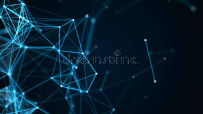Abstrakcjonistycznej technologii futurystyczny t?o Du?y dane unaocznienie Blokowego ?a?cuchu sieci poj?cie ?wiadczenia 3 d ilustracji