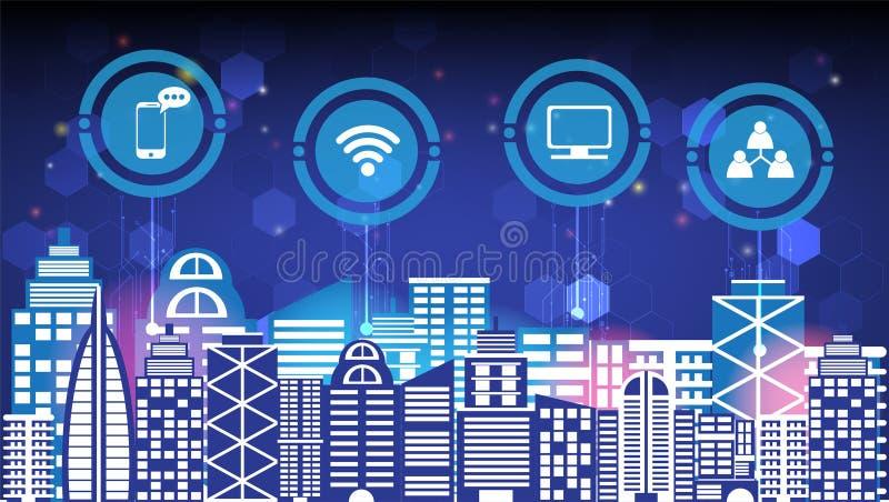 Abstrakcjonistycznej technologii innowacji miasta i radio sieci komunikacyjnej nocy miasta mądrze ogólnospołeczny cyfrowy życie,  ilustracji