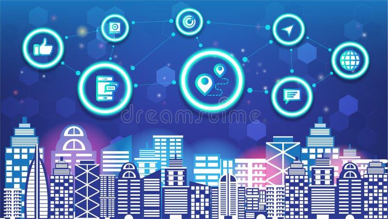 Abstrakcjonistycznej technologii ogólnospołecznej medialnej innowacji miasta i radio sieci komunikacyjnej nocy miasta mądrze ogól royalty ilustracja
