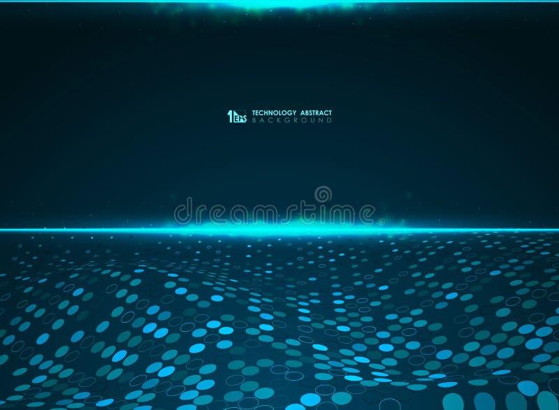 Abstrakcjonistycznej technologii okręgu wzoru błękitny futurystyczny tło władzy duży system danych Ilustracyjny wektor eps10 ilustracja wektor