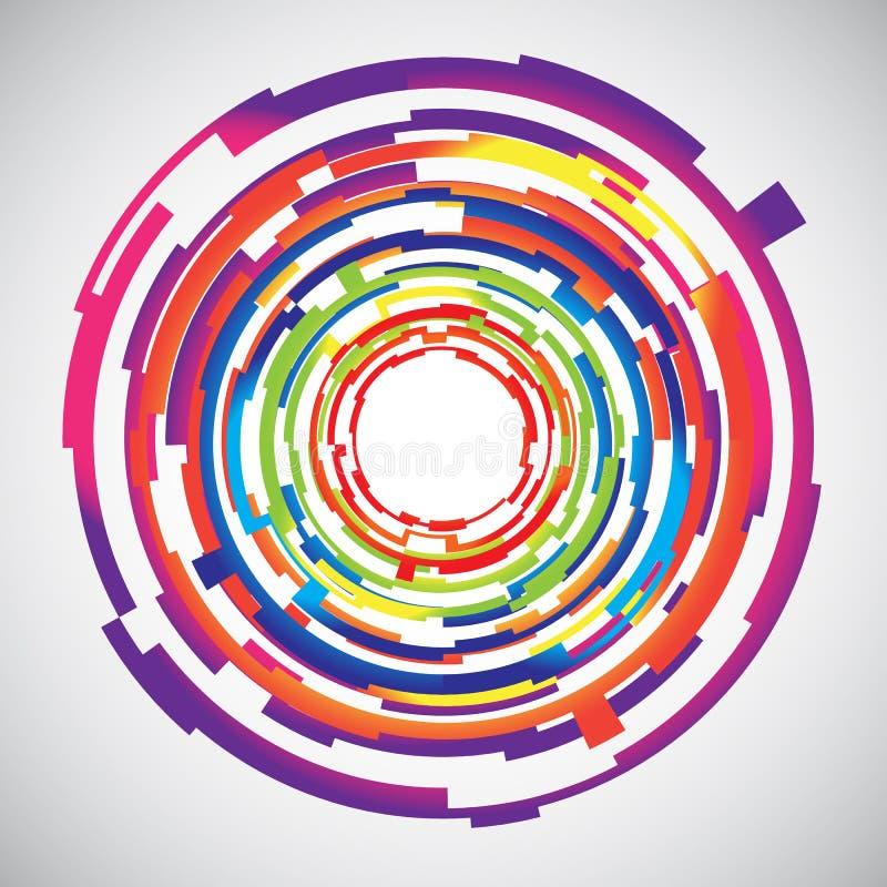 Abstrakcjonistycznej technologii okregów colourful tło royalty ilustracja