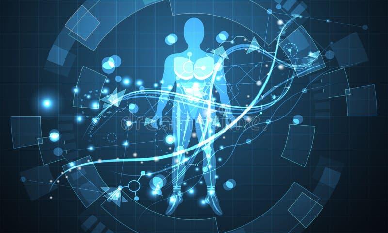 Abstrakcjonistycznej technologii pojęcia przyszłości futurystyczny ludzki cyfrowy worl royalty ilustracja