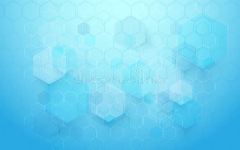 Abstrakcjonistycznej technologii techniki sześciokątów pojęcia cyfrowy tło cześć ilustracja wektor