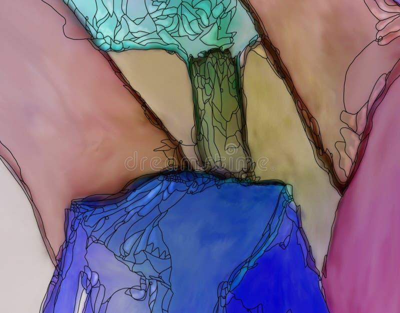 Abstrakcjonistycznej tulipan grafiki błękitny turkus i menchie ilustracji