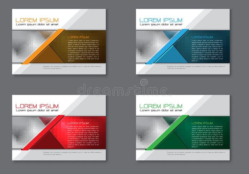 Abstrakcjonistycznej ulotki broszurki ustalony inkasowy szablon dla biznesu na popielatego projekta nowożytnym wektorze ilustracja wektor