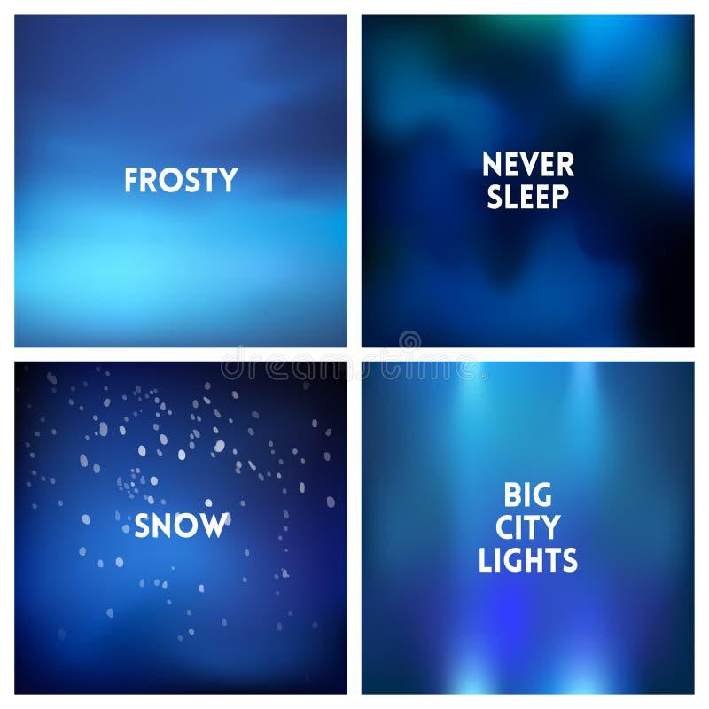 Abstrakcjonistycznej wektorowej błękitnej zimy tła zamazany set 4 koloru ustawiającego ilustracja wektor