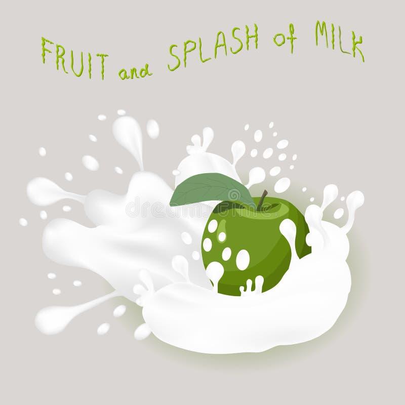 Abstrakcjonistycznej wektorowej ikony ilustracyjny logo dla całego dojrzałego owoc zieleni jabłka royalty ilustracja