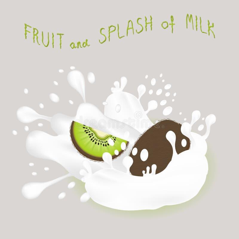 Abstrakcjonistycznej wektorowej ikony ilustracyjny logo dla całego dojrzałego owoc zieleni kiwi royalty ilustracja