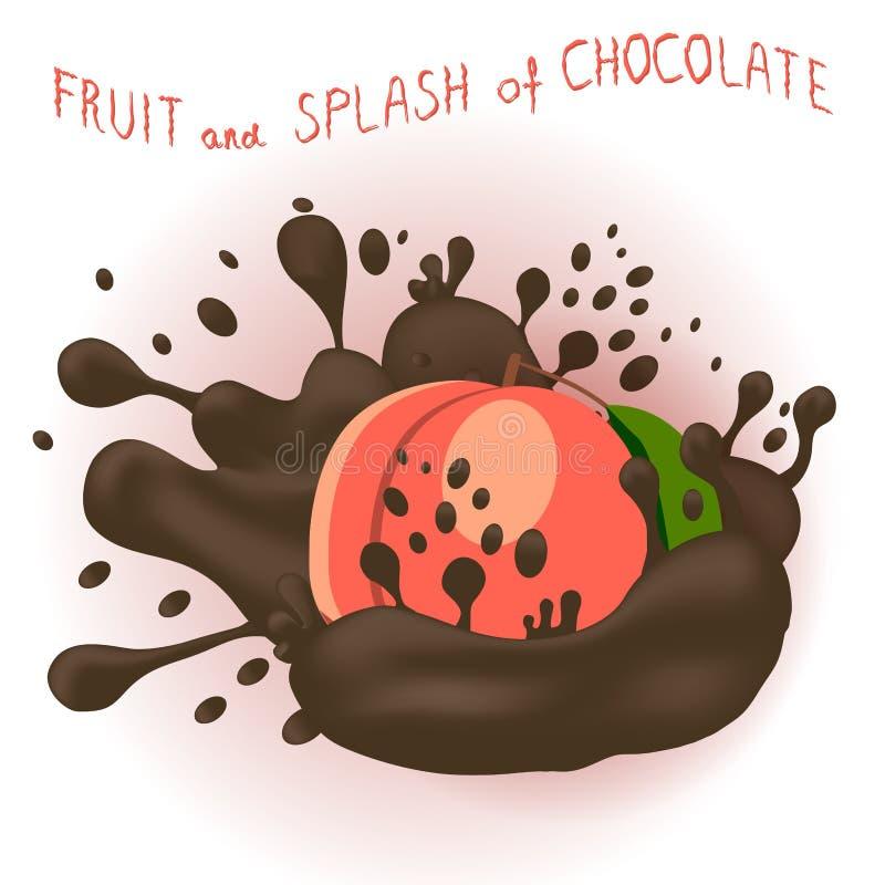 Abstrakcjonistycznej wektorowej ikony ilustracyjny logo dla całej dojrzałej owocowej brzoskwini royalty ilustracja