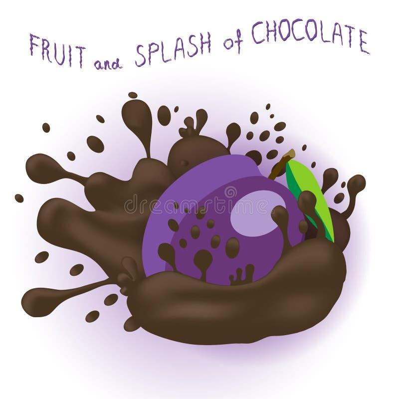 Abstrakcjonistycznej wektorowej ikony ilustracyjny logo dla dojrzałej owocowej purpurowej śliwki ilustracja wektor