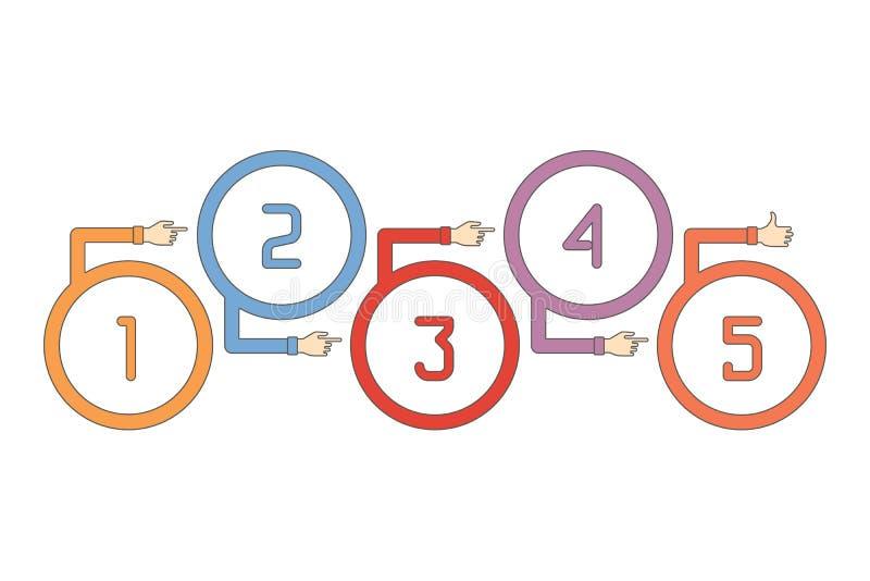 Abstrakcjonistycznej wektorowej linii czasu infographic szablon w płaskim konturu stylu dla układu obieg planu, liczącym opcje, m royalty ilustracja