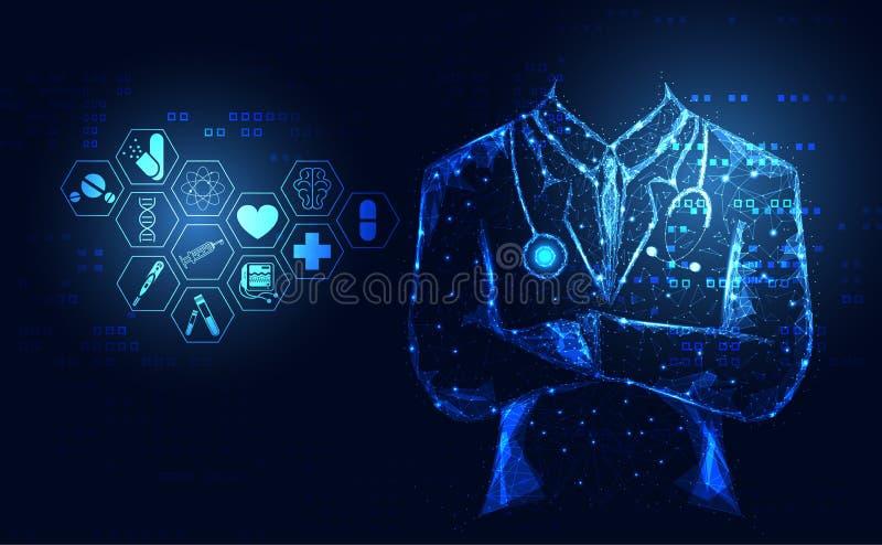 Abstrakcjonistycznej zdrowie nauki medyczne opieki zdrowotnej ikony cyfrowy technolo ilustracja wektor