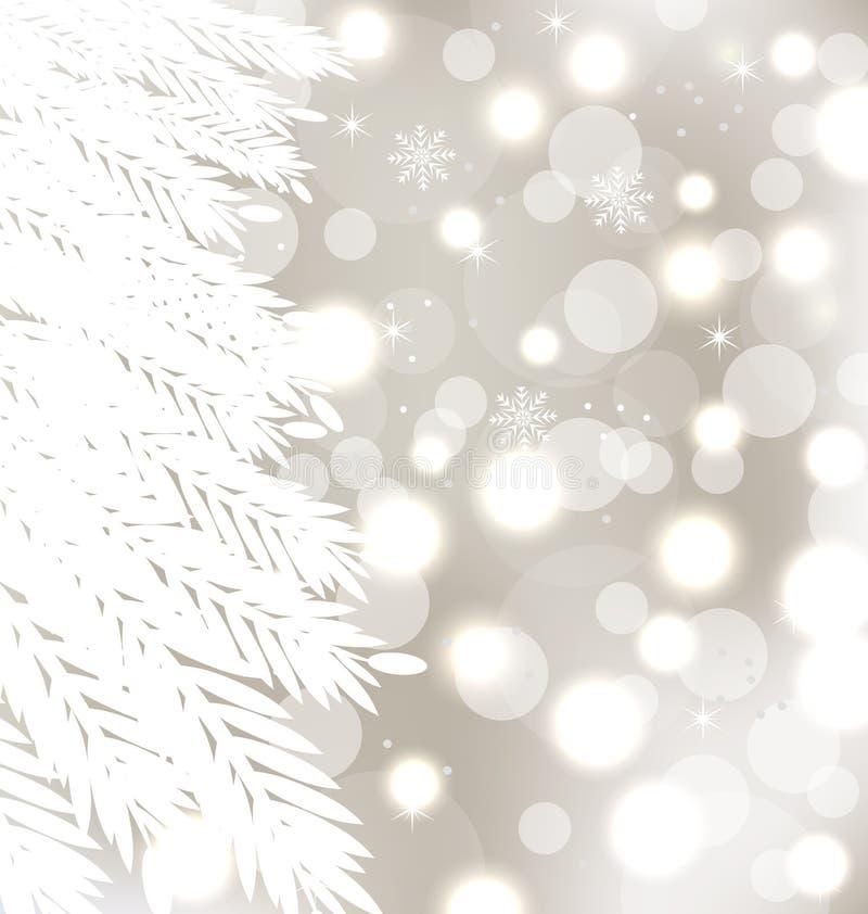 Abstrakcjonistycznej zima rozjarzony tło z drzewem ilustracja wektor