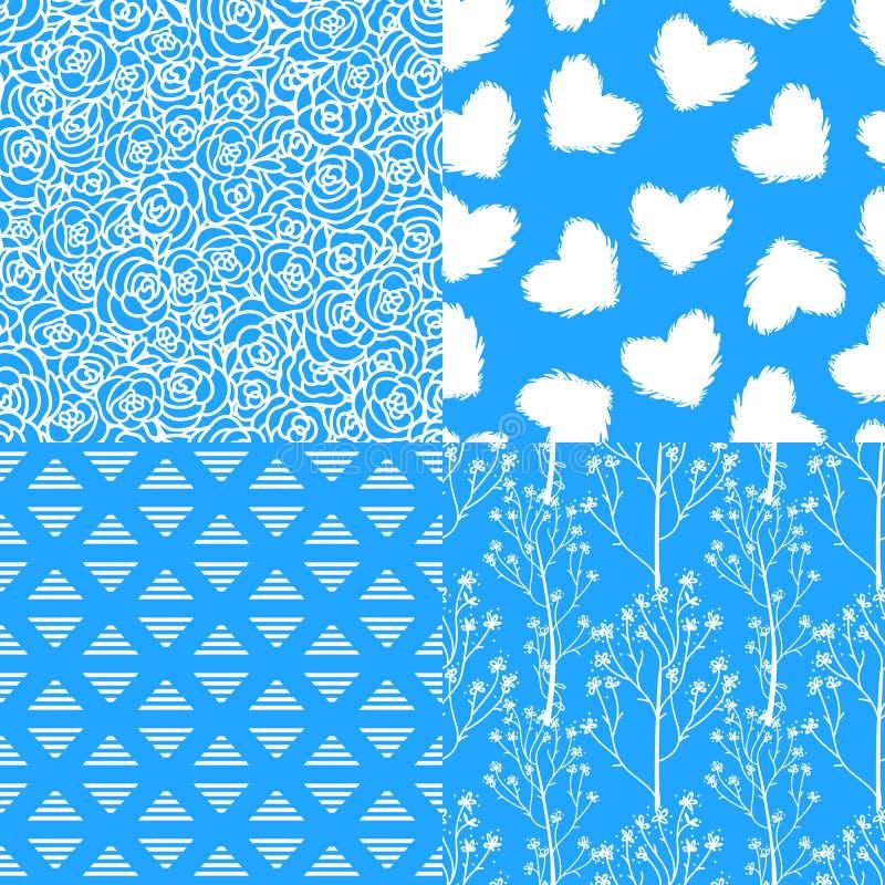 Abstrakcjonistycznej zimy błękitne białe róże, dziki kwiat, serce Set bezszwowi wzorów tła royalty ilustracja