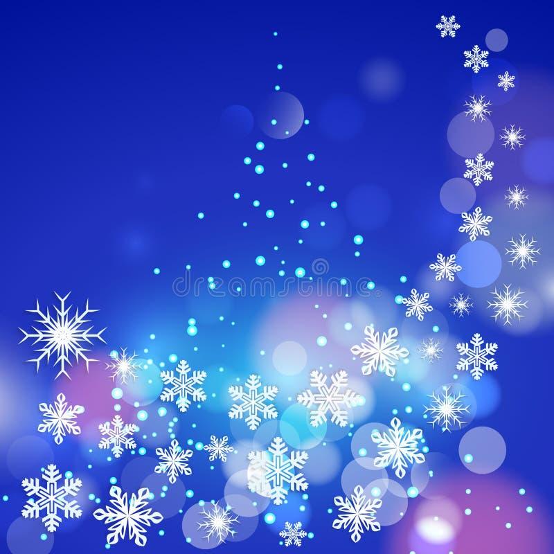 Abstrakcjonistycznej zimy błękitny tło z płatkami śniegu royalty ilustracja