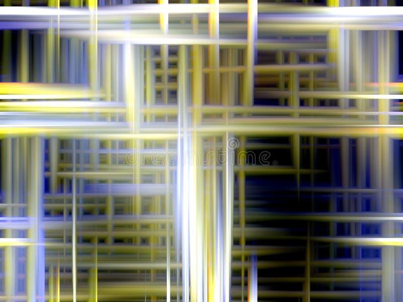 Abstrakcjonistyczni światła, iskrzaste żółte niebieskich linii geometrie, abstrakcjonistyczne grafika royalty ilustracja