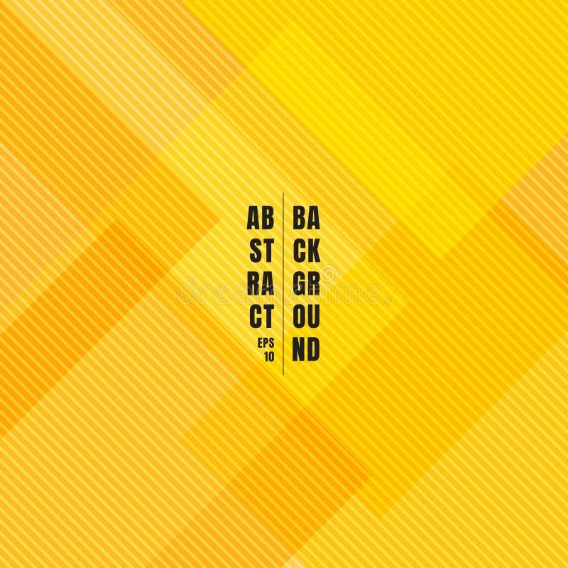 Abstrakcjonistyczni żółci geometryczni kwadraty pokrywa się z diagonalnymi liniami deseniują teksturę i tło royalty ilustracja