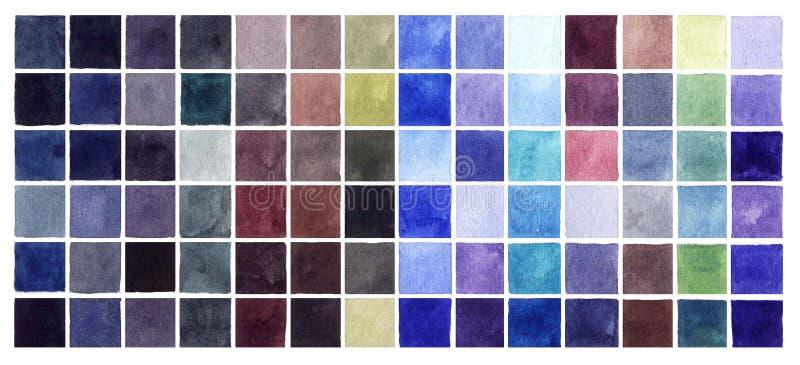 Abstrakcjonistyczni akwareli zimna kolorów kwadraty royalty ilustracja