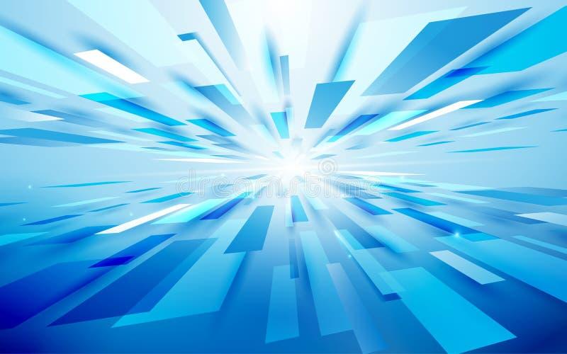 Abstrakcjonistyczni błękitni prostokąty zaświecają ruch technologii techniki perspektywy cyfrowego tło cześć twój tekst kosmiczny ilustracja wektor
