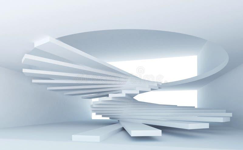 abstrakcjonistyczni błękitny wnętrza spirali schodki ilustracji