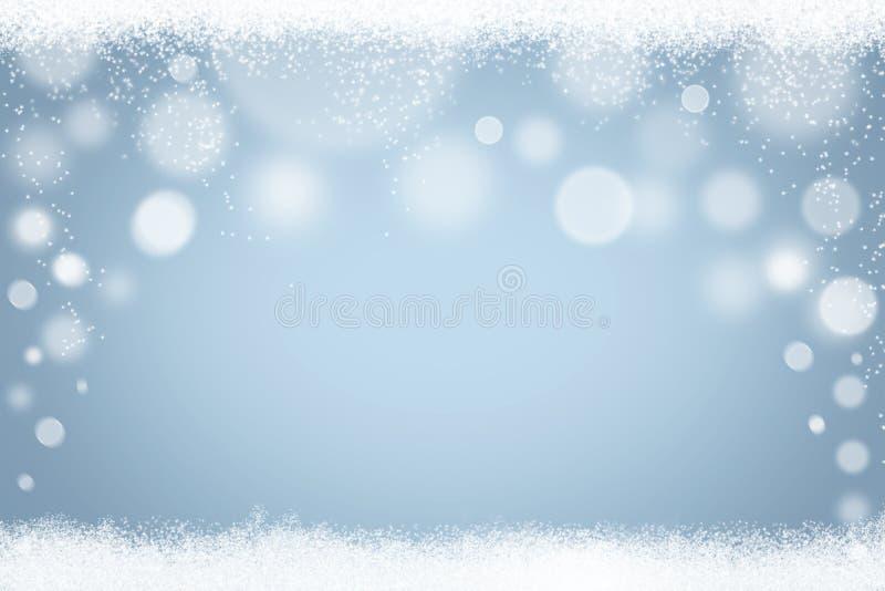 Abstrakcjonistyczni bławi zimy bokeh płatki śniegu i śnieżny tło ilustracja wektor