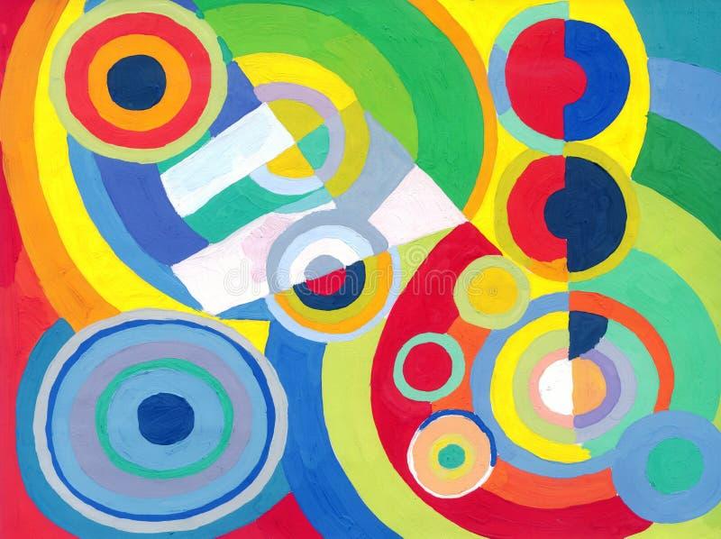 Abstrakcjonistyczni barwioni okręgi i pierścionki ilustracja wektor