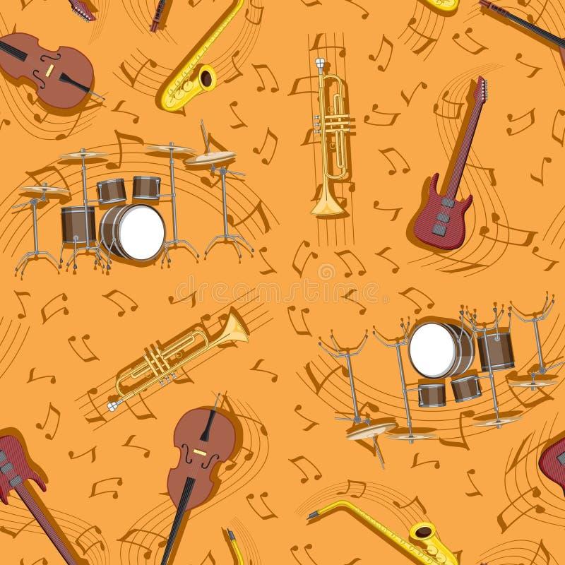 Abstrakcjonistyczni bezszwowi deseniowi instrumenty muzyczni i notatka bębenu gitara nastrajają niebieski obraz nieba t?czow? chm ilustracja wektor