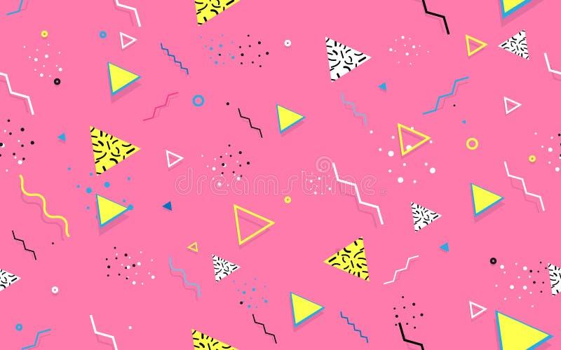 Abstrakcjonistyczni bezszwowi modni Geometryczni Kreskowi kształty Retro 80s-90s stylu tekstura royalty ilustracja