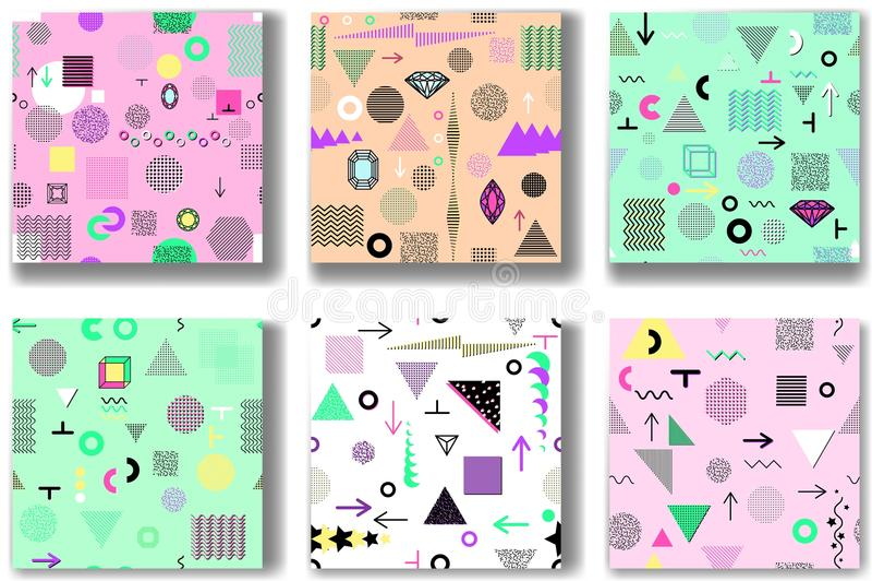 Abstrakcjonistyczni bezszwowi wzory 80& x27; - 90& x27; s style Modny Memphis styl royalty ilustracja