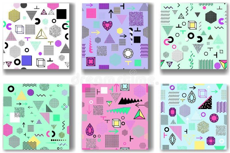 Abstrakcjonistyczni bezszwowi wzory 80& x27; - 90& x27; s style Modny Memphis styl ilustracja wektor
