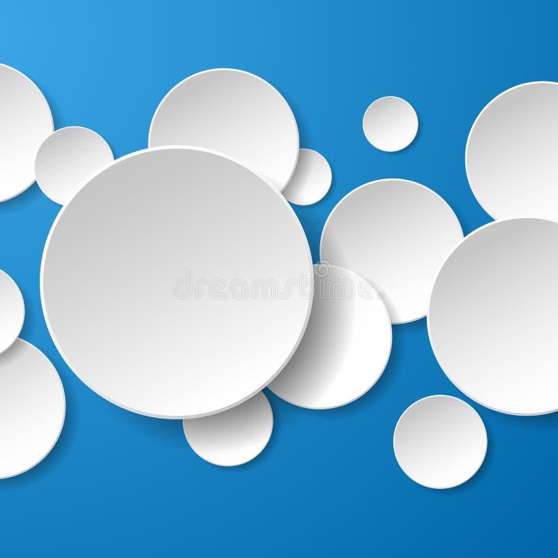 Abstrakcjonistyczni białego papieru okręgi na błękitnym tle ilustracji