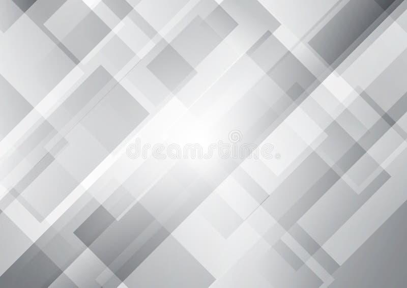 Abstrakcjonistyczni biali i szarzy kwadraty kształtują geometrycznego pokrywa się tło royalty ilustracja
