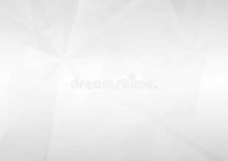 Abstrakcjonistyczni biali perspektywiczni geometryczni kształty pokrywają się na szarym gradientowym tle royalty ilustracja