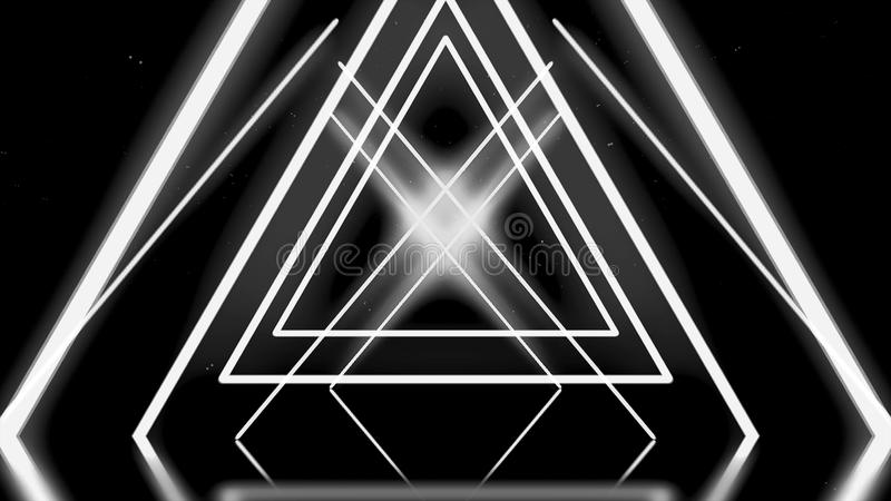 Abstrakcjonistyczni biali trójboki krzyżuje neonowego tunel na czarnym tle i tworzy, bezszwowa pętla animacja geometryczny royalty ilustracja