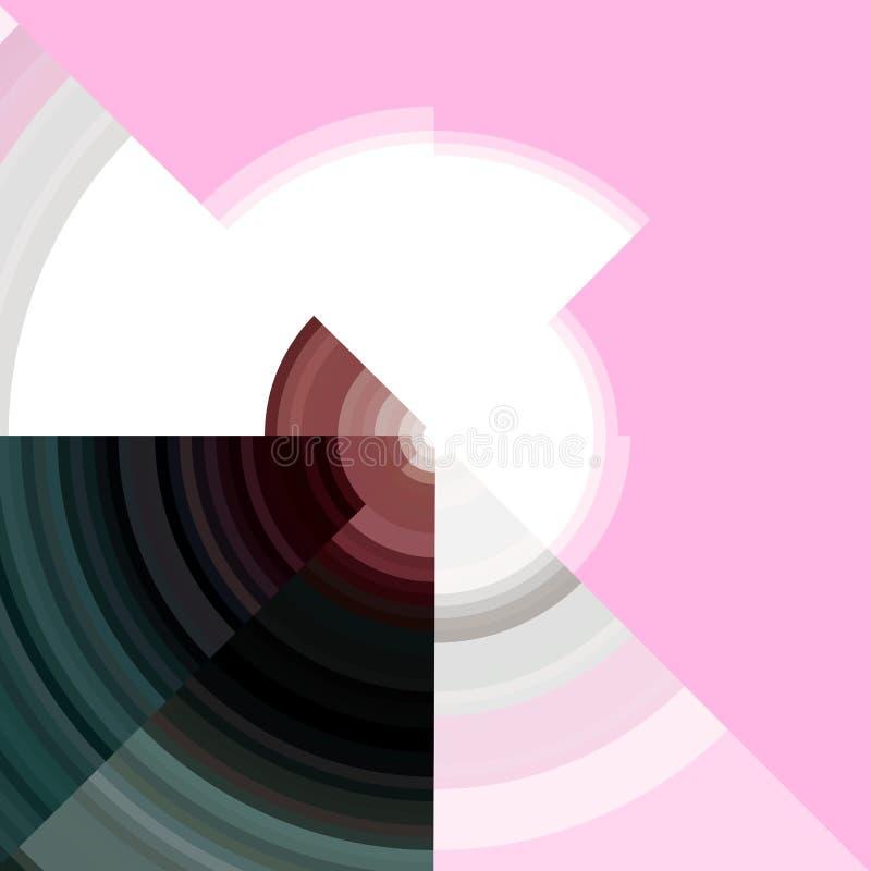 Abstrakcjonistyczni biel okręgi na różowym tle royalty ilustracja